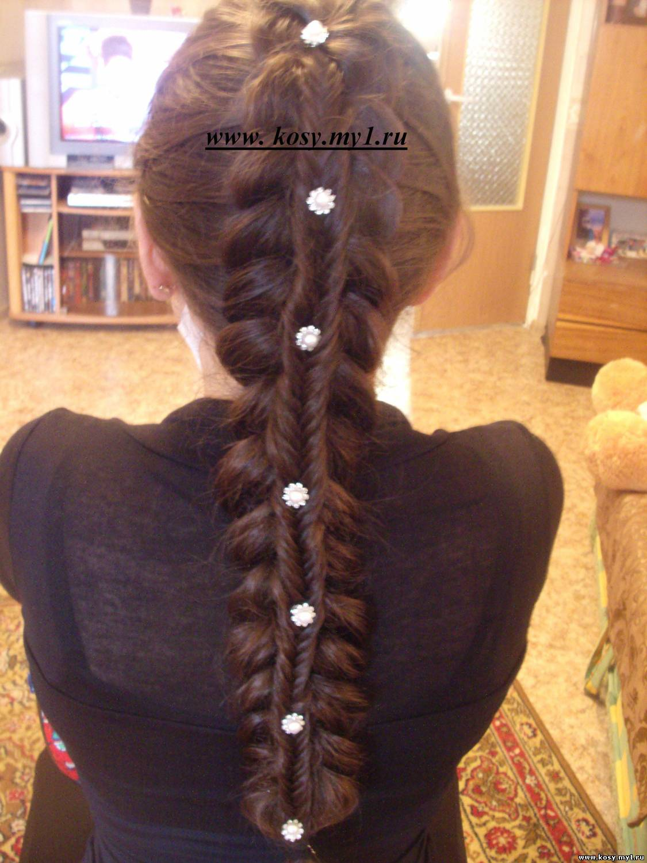 ложная коса прическа