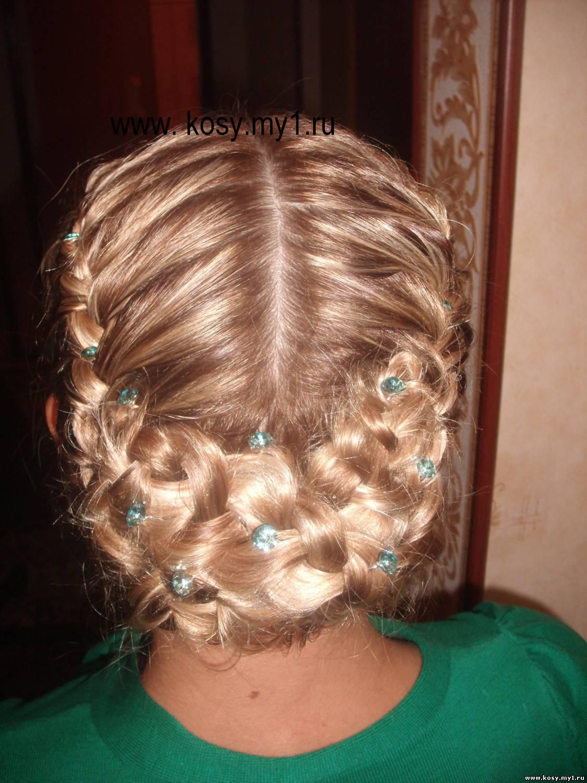 Вечерние прически для девочки с косами