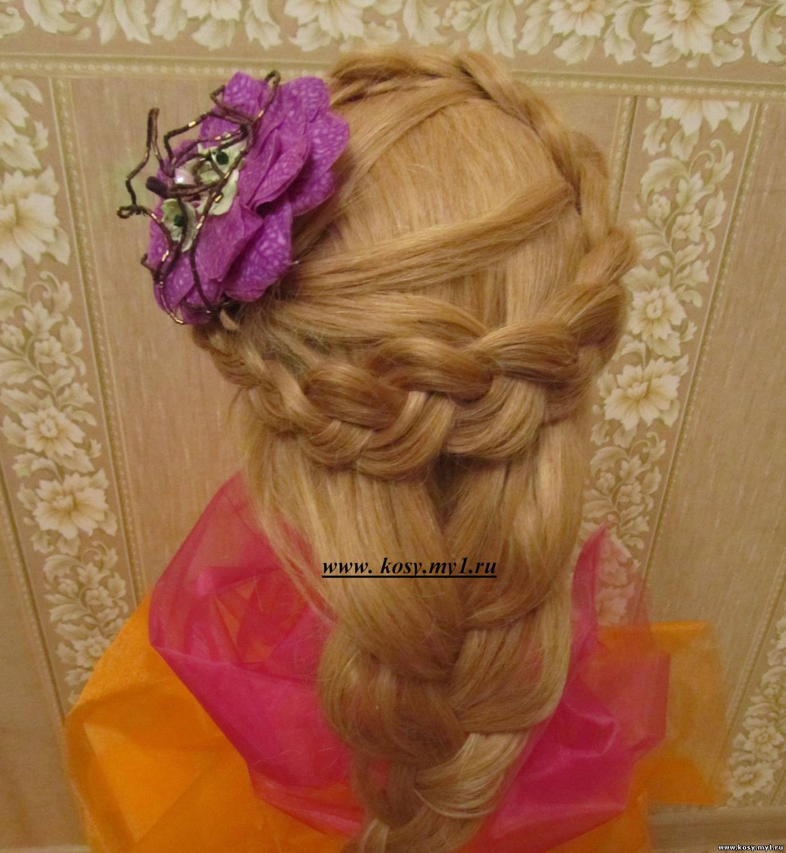 Коса с цветами на длинные волосы фото